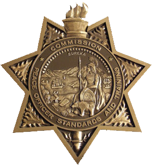 law enforcement badge in a star shape, representing courses for law enforcement